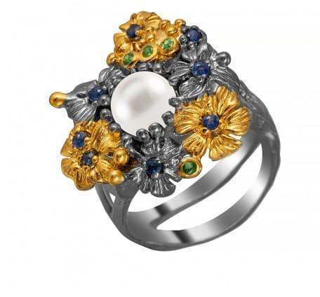 кольцо из родированного серебра